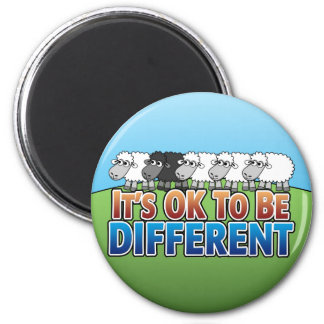 It's OK to be Different BLACK SHEEP 2 Inch Round Magnet