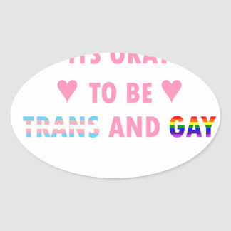It's Okay To Be Trans And Gay (v1) Oval Sticker