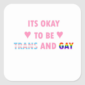 It's Okay To Be Trans And Gay (v1) Square Sticker