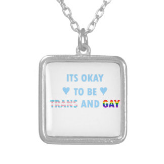 It's Okay To Be Trans And Gay (v2) Silver Plated Necklace