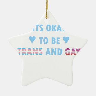 It's Okay To Be Trans And Gay (v3) Ceramic Star Ornament