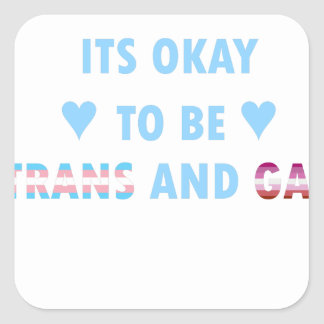 It's Okay To Be Trans And Gay (v3) Square Sticker