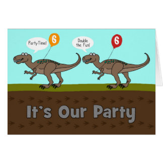 It's Our Party Dinosaurs Birthday Invitation Greeting Card