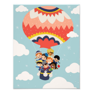 It's Our Small Little World Hot Air Balloon Kids Art Photo
