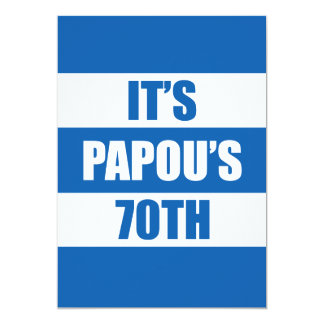 It's Papou's 70th Birthday Greek Flag Colors Card