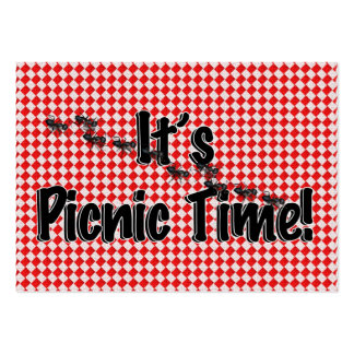 It's Picnic Time! Red Checkered Table Cloth w/Ants Large Business Card