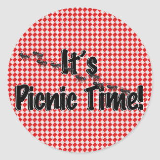 It's Picnic Time! Red Checkered Table Cloth w/Ants Round Sticker