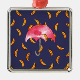 It's Raining Bananas Silver-Colored Square Ornament