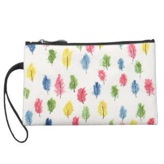 It's raining feathers suede wristlet