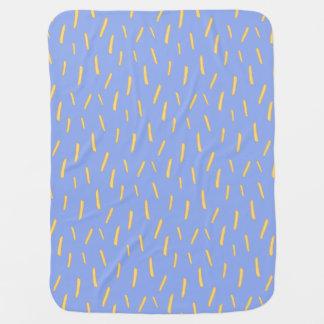 It's Raining Fries Purple by KimbuPamu Swaddle Blankets