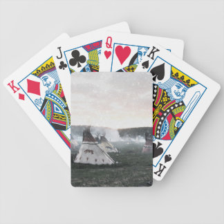 It's snowing on the camp bicycle playing cards