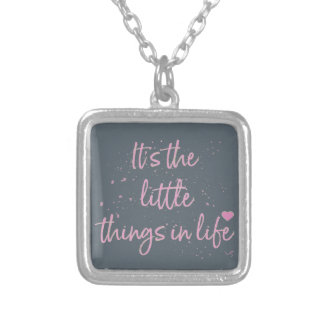 Its-the-little-Things-in-Life-quote-Pink Silver Plated Necklace