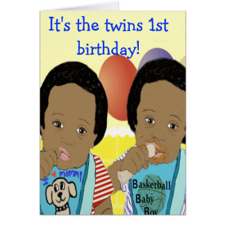 It's the twins 1st birthday Card