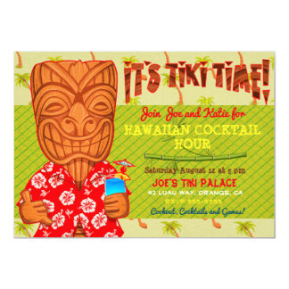It's Tiki Time Luau Cookout Party Card