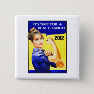 It's Time For A Change - Sarah Palin 2 Inch Square Button
