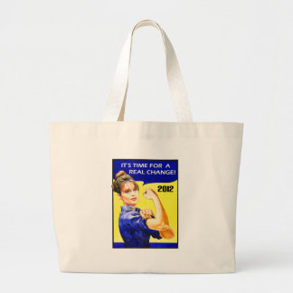 It's Time For A Change - Sarah Palin Large Tote Bag
