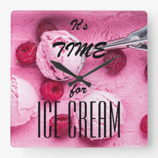 It's time for icecream square wall clock