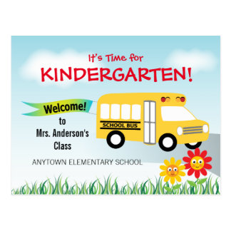 It's Time for Kindergarten, School Bus Postcard