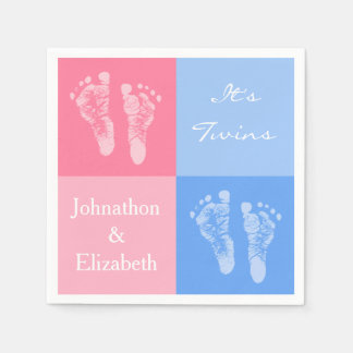 Its Twin Boy and Girl Cute Pink Baby Footprints Disposable Napkins
