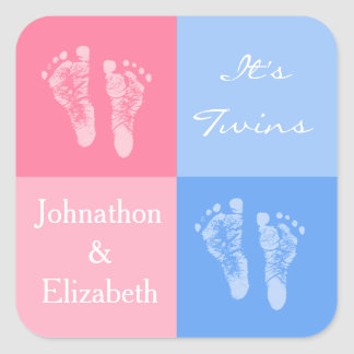 Its Twin Boy and Girl Cute Pink Baby Footprints Square Sticker