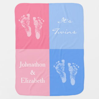 Its Twin Boy and Girl Cute Pink Baby Footprints Swaddle Blankets