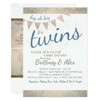 It's Twins! Baby Shower Invitation