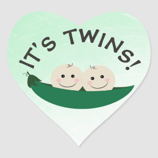 Its Twins Green Gender Neutral in Peapod Stickers