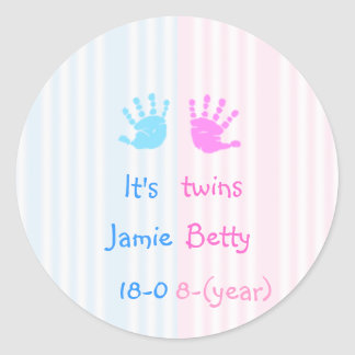 It's twins - handprints round sticker