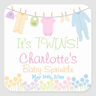 It's TWINS! Little Clothes Baby Sprinkle Square Sticker