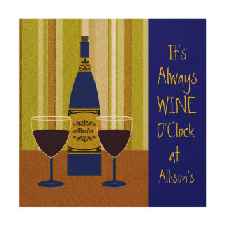It's Wine O'clock Custom Name Sign Wood Canvases