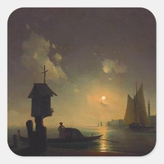 Ivan Aivazovsky- Sea view with chapel Square Sticker