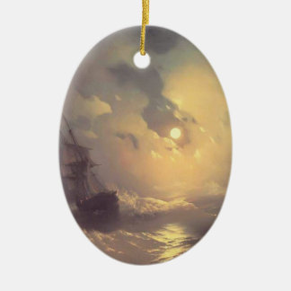 Ivan Aivazovsky- Tempest on the sea at nidht Ceramic Oval Ornament