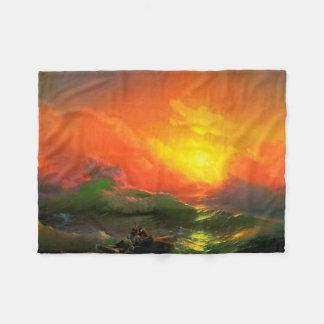 IVAN AIVAZOVSKY - The ninth wave 1850 Fleece Blanket