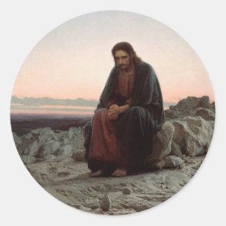 Ivan Kramskoy- Christ in the Wilderness- Fine Art Classic Round Sticker