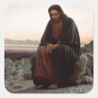 Ivan Kramskoy- Christ in the Wilderness- Fine Art Square Sticker