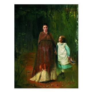 Ivan Kramskoy- Portrait of wife and daughter Postcard
