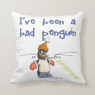 I've been a bad penguin throw pillow