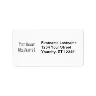 I've Been Raptured Personalized Address Label
