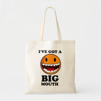 """I'VE GOT A BIG MOUTH"" SMILEY FACE BUDGET TOTE BAG"