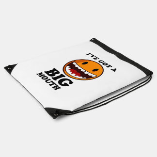 """""""I'VE GOT A BIG MOUTH"""" SMILEY FACE CINCH BAGS"""