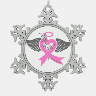 I've Held an Angel (Breast Cancer) Snowflake Pewter Christmas Ornament
