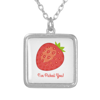 """I've Picked You!"" Strawberry Necklace (Square)"