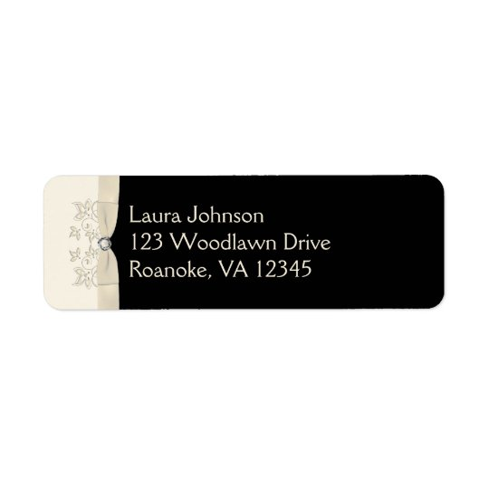 Ivory and Black Floral Return Address Label