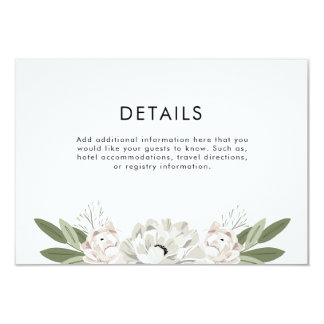 Ivory and Blush Wedding Sprigs Details Card
