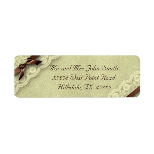 Ivory and Brown Lace Vintage Wedding Address Label