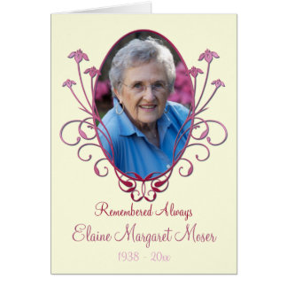 Ivory and Burgundy Memorial Card with Photo