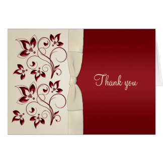 Ivory and Claret Thank You Card