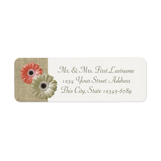 Ivory and Coral Gerbera Daisy and Burlap Return Address Label