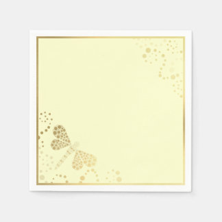 Ivory and Gold Dragonfly Pointilism Custom Wedding Paper Napkin