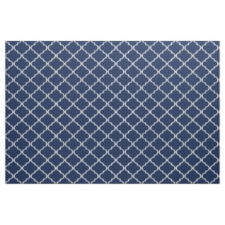 Ivory and Indigo Custom Quatrefoil Fabric